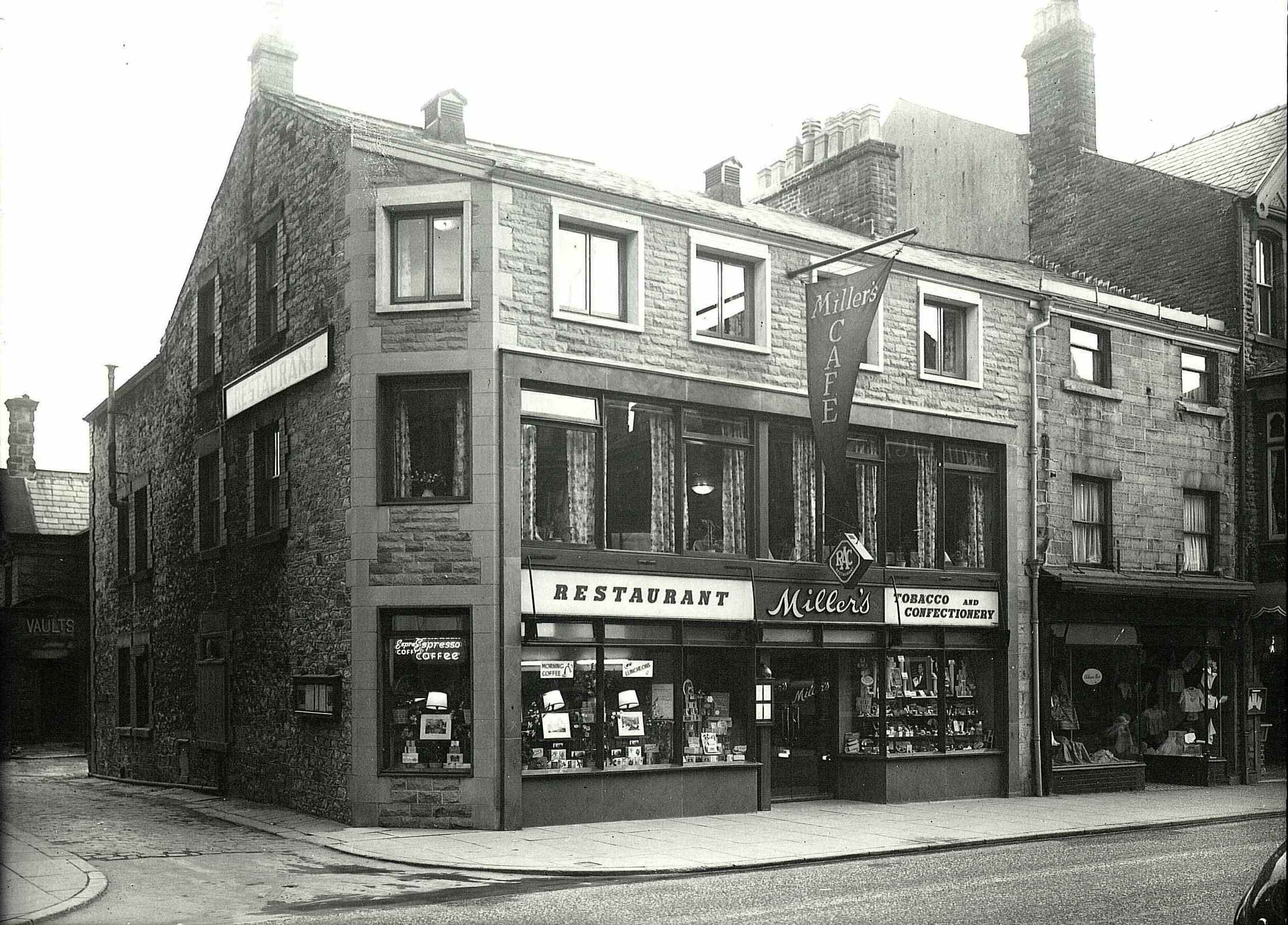 Exterior of Millers Cafe, Spring Gardens, Buxton, c1950. Meddins, J.D.