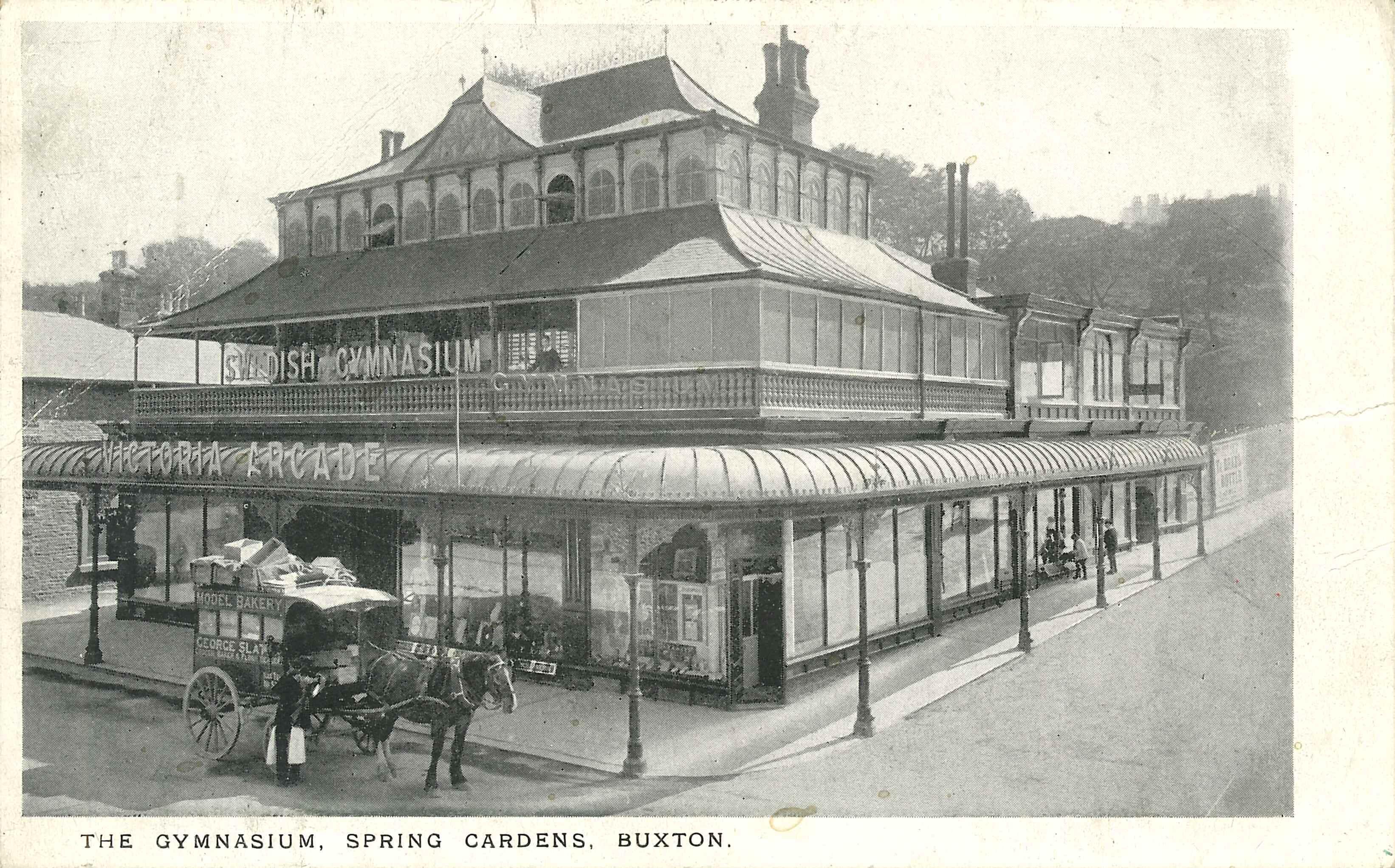 Postcard featuring the Swedish Gymnasium on Victoria Arcade, Spring Gardens, Buxton. Postmarked Buxton January 15th 1912.
