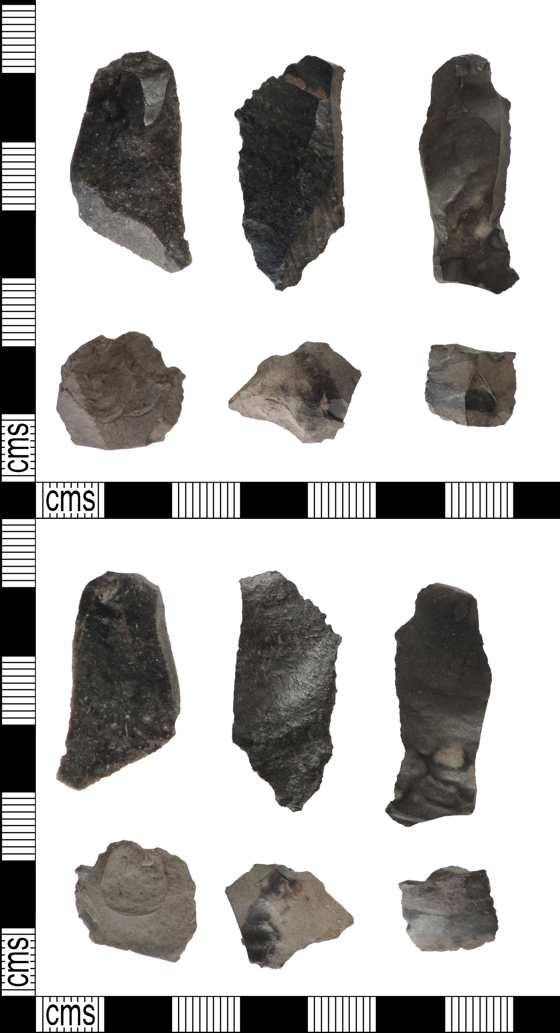 Blades of chert. Chert could be used instead of flint, which was harder to get hold of. Image courtesy of the Portable Antiquities Scheme