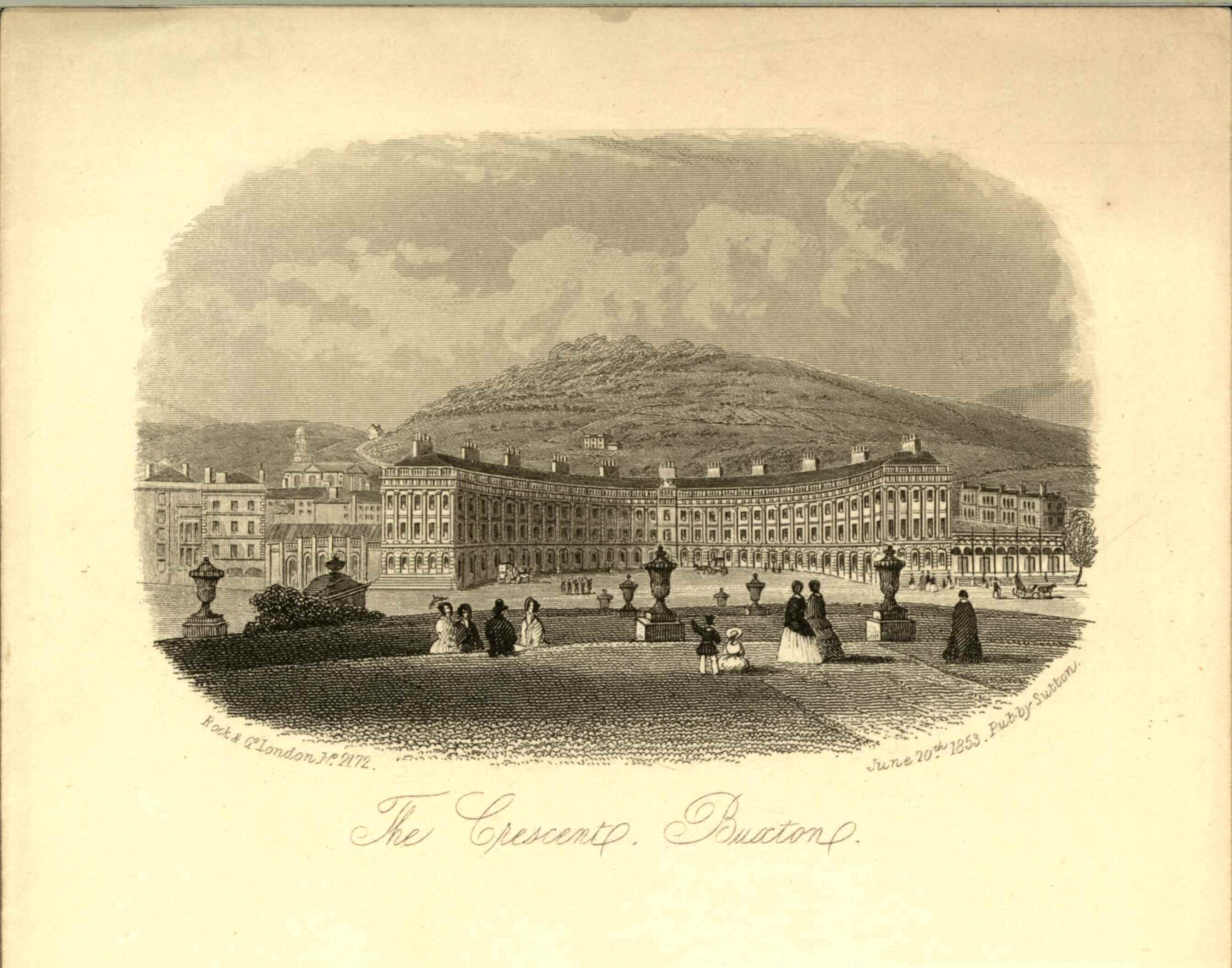 Print engraving of the view of The Crescent from the Slopes, about 1853.