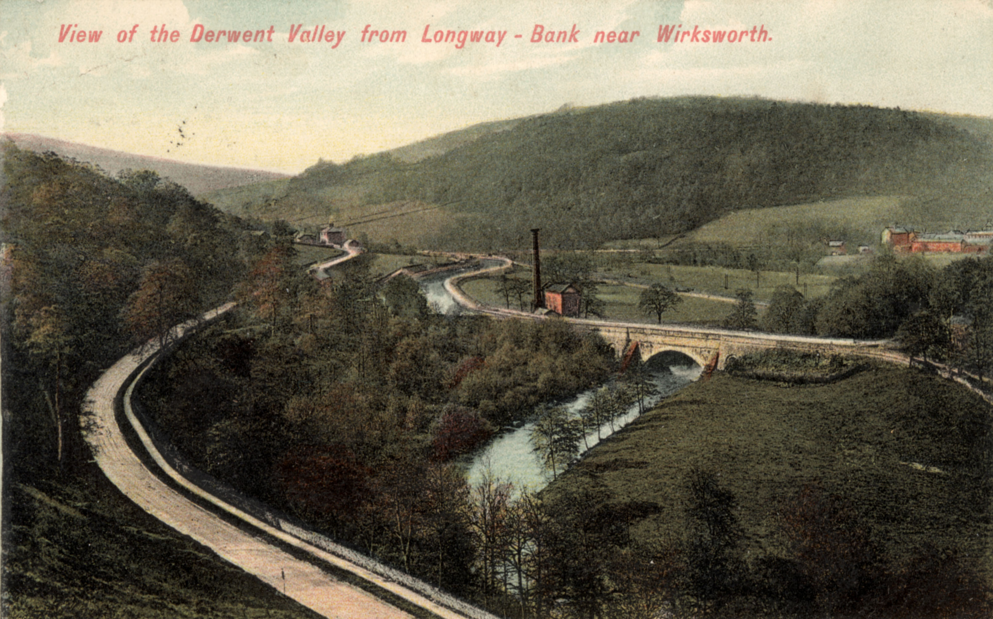 From the hill on the opposite side of the A6, Derwent Aqueduct with its buttresses is clearly seen with Leawood Pump to the left and High Peak Junction further to the left.